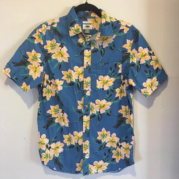 OLD NAVY Mens Hawaiian Button Down Shirt